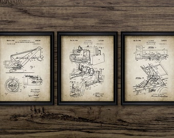 Vintage Construction Print Set Of 3 - Dump Truck - Earth Mover - Bulldozer - Mechanical Shovel - Set Of Three Prints #601 - INSTANT DOWNLOAD