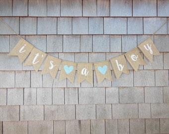 Baby Shower Decor, Baby Boy Burlap Banner, It's A Boy Banner, It's A Boy Burlap Bunting, Gender Reveal Photo Prop, Rustic Baby Shower Banner