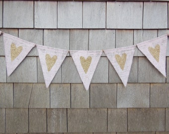 Gold Heart Banner, Pink and Gold, Valentines Day Decor, Valentines Banner, Heart Garland, Heart Bunting, Gold Glitter Valentines Garland