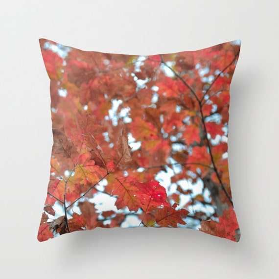 Fall Pillow Cover, Red Leaf Decor, Throw Pillow, Living Room Pillow, Autumn Colors, Nature Photography, Tree Leaves, Nature Decorations