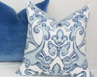 Light blue damask pillow cover 18x18 pillow 20x20 pillow 22x22 pillow 24x24 pillow 26x26 Blue euro sham Light blue pillow Blue pillow cover