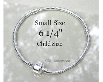 Child Size 6 1/4 European Bracelet Silver Plated Snake Chain Kid Size Fits Big Hole Bead Charms Add A Bead Make Your Own Charm Bracelet #A05