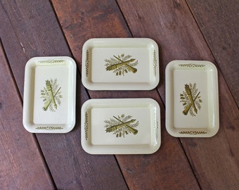 Vintage Tin Tole Tray Quills and Arrows Mid Century Modern, Vanity Tray, Rustic Farmhouse, Wedding Decor, Vanilla Cream and Gold