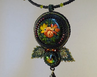 Beaded Pendant//Vintage Lacquer Miniature//Black//Green//Red//Leaves//Free Shipping