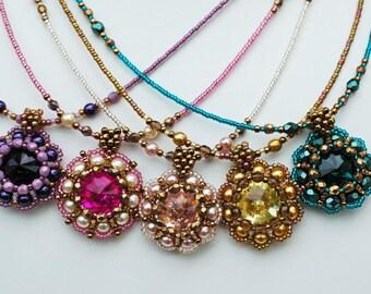Beadwork Crystal Flower Necklace , Beadwoven Swarovski Round Pendant