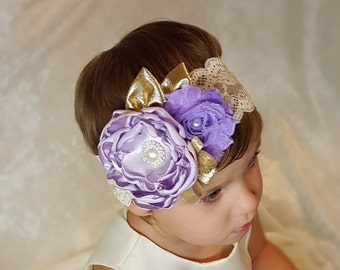 Couture headband. Lavender Gold headband. Easter headband. Toddler photo prop. Lace headband. Lavender flower headband. Boutique headband