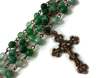 Antique Green Agate Rosary