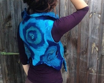 The 'Song of the Jengu' Felted Clothing for the Mermaid Fashionista Nuno Felted Vest Waistcoat Faery Pixie Art to Wear