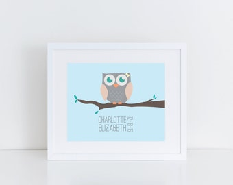 Custom Personalized Owl Nursery Print, Printable Art, Digital Print