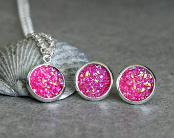 Pink Necklace Set, Pink Stud Earrings, Pink Druzy Earrings, Pink Druzy Necklace, Pink Post Earrings, Magenta Necklace, Pink Pendant 10MM