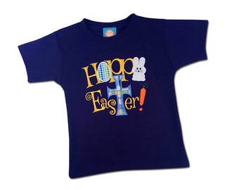 Boy's Easter Shirt - 'Hoppy Easter' Happy Easter with Cross - M30