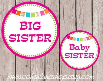 Instant Download Big Sister and Baby Sister Tshirt Transfer Design Combo.  Big Sister Iron On. Baby Sister iron on. Baby Shower Gift.