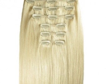 """Lightest Blonde Clip in 100% REMY Human Hair Extensions 20"""" #60 120 / 180 / 240 grams"""