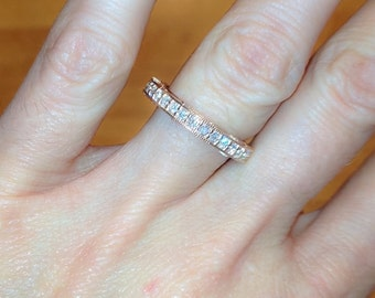 Rose Gold Diamond Wedding Band 14kt Rose Gold Flushed Fit with FSI1 Round Diamond .51tcw Crowned Love Inspired Anniversary Band Wedding Ring