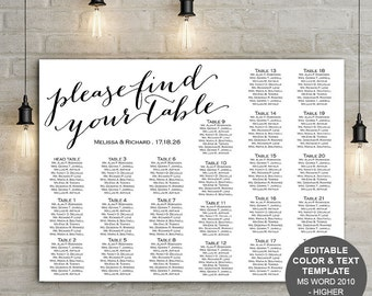 Find your table seating chart, wedding Seating chart , template, wedding, printable, poster, sign, instant download, seating plan, S3