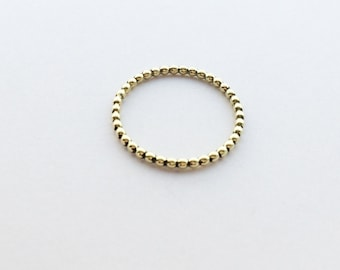 Narrow contact ring (pearl ring - globule ring) in gold - 1,5 mm