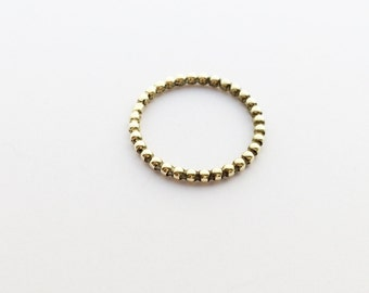 Narrow contact ring (pearl ring - globule ring) in gold - 2,0 mm
