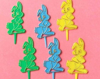 Retro Bunny Cupcake Toppers, Bunny Cake Picks (12), Easter Bunny Baking Supplies, Easter Cupcakes, Blue - Green - Yellow with Gold Outline