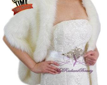 Faux Fur Wrap, Fur Cape, Fur Shrug, Ivory Faux Fur Shawl, Fur Cape, Bridal Stole, Wedding Stole, Wrap, My Radiant Beauty Stole LW108-IVY