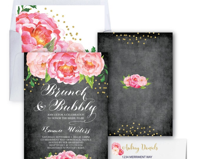 Brunch and Bubbly Invitation // Chalkboard // Peonies // Peony// Bridal Shower Invitation // Pink // Gold Glitter // BORDEAUX COLLECTION