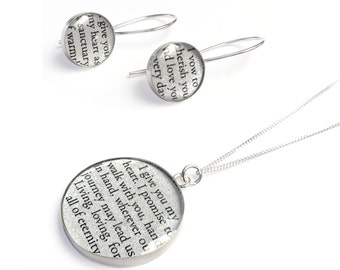 1st Year Anniversary Gift for Her / Personalized Jewelry with your Wedding Vows or Song Lyrics on PAPER / Paper Anniversary for Wife / Woman