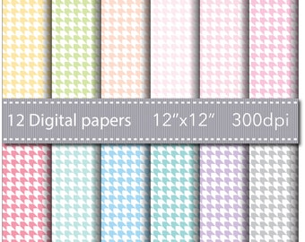 INSTANT DOWNLOAD - 12 BASIC Scrapbooking Papers - 12 Geometric Arrows Digital Paper - 12'' x 12'' - High Quality 300 dpi