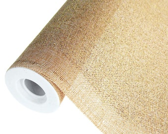 Faux Burlap Roll with Glitters, Natural, 19-Inch, 5 Yards