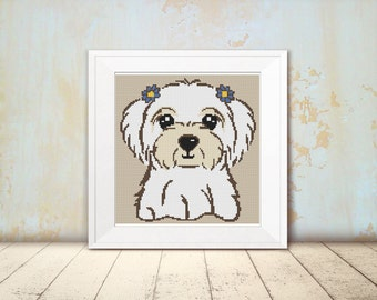 Cross Stitch Pattern - Dog - Maltese Terrier - Instant Download