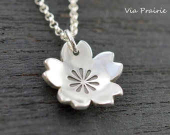Sakura necklace, Sakura blossom pendant, 100% Handmade, Cherry blossoms necklace, Her gift, Japanese jewelry, Japan gift, SOLID 925 silver
