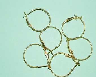 6 pc Gold plated Round hoop 24 mm (3011512)