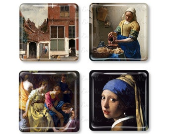 Johannes Vermeer, Glass Magnet, Fridge Magnets, Painting, Girl with a Pearl Earring, Little Secret, The Milkmaid, Diana and her Companions