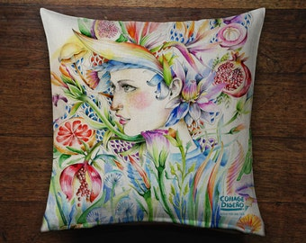 Colorful Tropical Woman Illustration Cushion