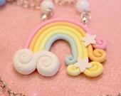 Kawaii Pastel Rainbow Polymer Clay Necklace