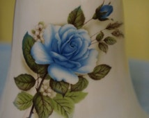 Pretty Ceramic Bell; Blue Rose Design; Approx. 8.5 x 4 Inches; Hand Glazed !!!