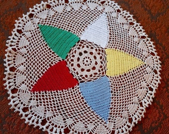 Crochet Doily; Star Pattern; Approx. 16 in. Round; Fine Detail !!!