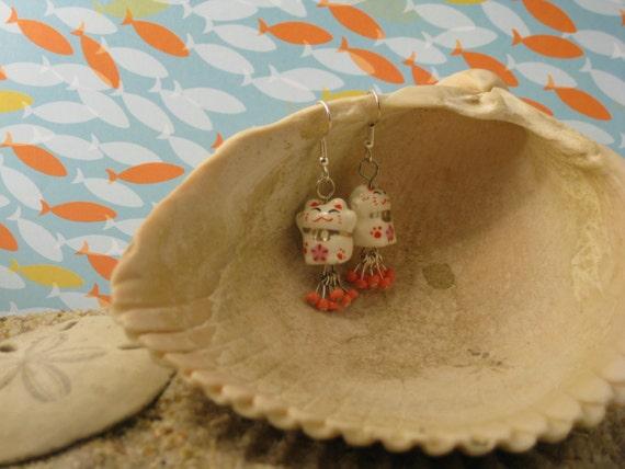 Coral Kitten Earrings