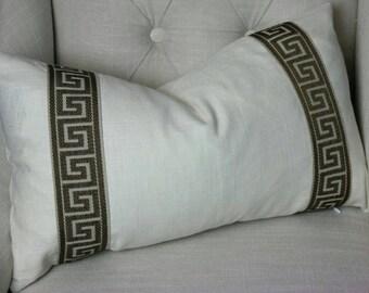 Designer Pillows, Greek Key Pillow Cover, Designer Pillow Cover 12x20, 14x22, Linen Pillow