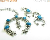ON SALE Signed Art Squash Blossom Necklace and Earring Demi Parure