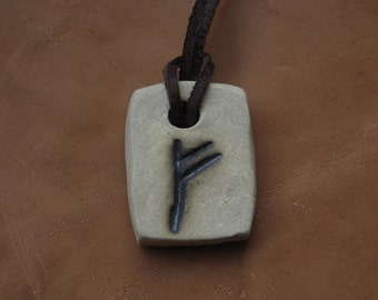 Pendant with rune of Fehu. Amulet of wealth and luck
