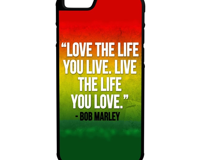 Live Love Life iPhone, Galaxy, Note, LG Hybrid Rubber Protective Case Bob Marley