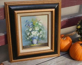 Vintage R Campton Artist Signed 70s Oil Painting of Flowers In Vase