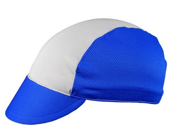 Silver/blue moisture wicking cycling cap - handmade cap; moisture wicking cap; bicycle cap; polyester cap; bike wear; cycling clothes