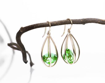 Peridot Earrings.Peridots in a Yellow Gold cage.Peridot Jewelry.Anniversary Gift for Her.August birthstone earrings.Unique Earrings.