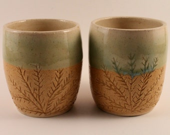 Stoneware Pottery Coral Cup Pair