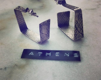 Square,small, silver earrings, geometric, minimal, LIMITED EDITION inspired by Athens