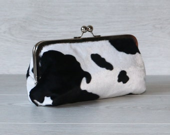 MADE TO ORDER 8″ Frame Clutch Purse in Faux Fur Cow Print