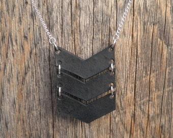 Leather Triple Chevron Necklace - Long Leather Necklace - Black Chevron Necklace - Tan Chevron Necklace