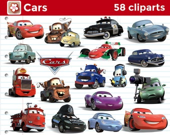 Instant Download - 58 Pixar Cars Cliparts for Party and Scrapbooking