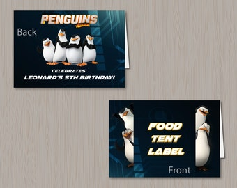 The Penguins of Madagascar Food Tent Label Birthday Party Printables Private Rico Kowalski Skipper