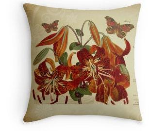 Botanical Pillow, Botanical Cushion, Tiger Lily, Lilies, Garden Decor, Flower Pillow, Gardener Gift, Flower Cushion, Butterfly Cushion